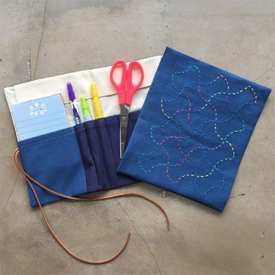 Sashiko Fabric Pen Holder 4