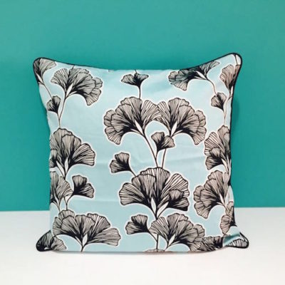 Black Blossoms on Blue pip e out cushion