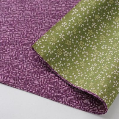 70 Polyester Amunzen Reversible   Fine Sharkshin Pattern : Sakura Purple:Green